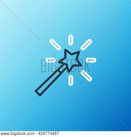Line Magic Wand Icon Isolated On Blue Background. Star Shape Magic Accessory. Magical Power. Colorfu