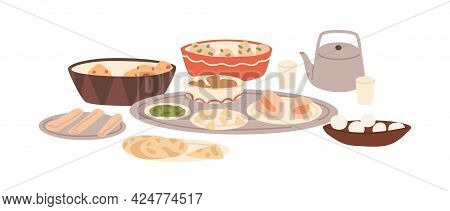 Festive Traditional Indian Dishes. Served Holiday Meal In India. Hindu National Dinner. Naan Bread,