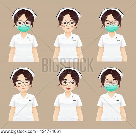 Nurse Collection, Cartoon Woman Doctor Or Nurse In White Uniform On Brown Background. Vector Illustr
