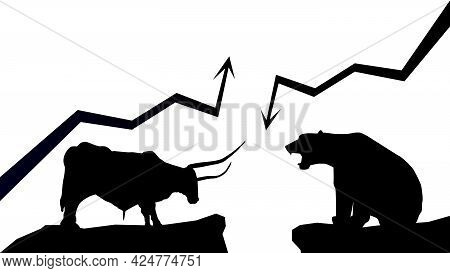 Silhouette Bullish Trend Versus Bearish Trend With Up And Down Arrows On White Background. Bull And