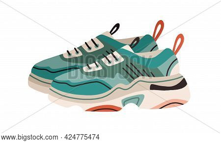 Pair Of Women's Fashion Ugly Sneakers With Big Clunky Sole. Side View Of Modern And Trendy Sports Fo