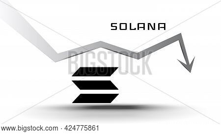 Solana Sol In Downtrend And Price Falls Down. Cryptocurrency Coin Symbol And Down Arrow On White Bac