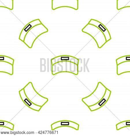 Line Sun Visor Cap Icon Isolated Seamless Pattern On White Background. Sport Equipment. Sports Unifo