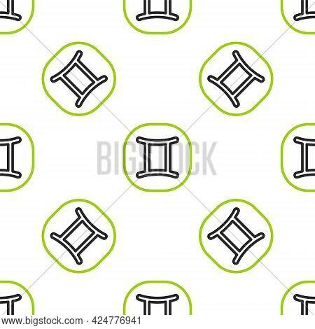 Line Gemini Zodiac Sign Icon Isolated Seamless Pattern On White Background. Astrological Horoscope C