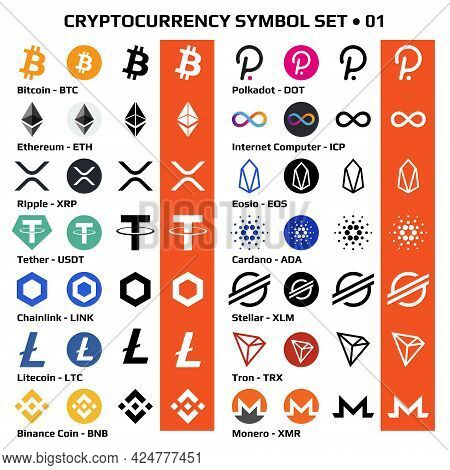 Set Of Isolated Cryptocurrency Symbols, Digital Coins Icons In Monochrome And Color. Vector Illustra