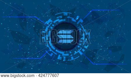 Solana Sol Token Symbol In Digital Circle With Cryptocurrency Theme On Blue Background. Cryptocurren