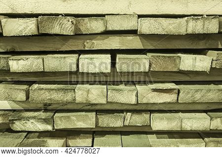 Lumber Pile Boards. Abstract Background With Stacks, Stacks Of Boards.
