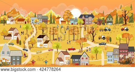 Autumn Landscape In City With Happy People Walking At The Park, Illustration Cartoon Fall Season In
