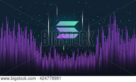 Solana Sol Token Symbol On Dark Polygonal Background With Wave Of Lines. Cryptocurrency Coin Logo Ic