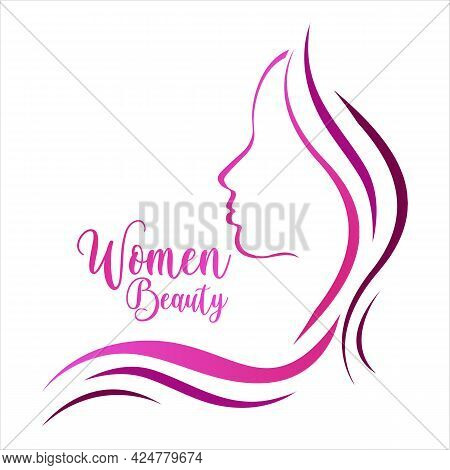Beautiful Woman, Female Logo Design Template. Cosmetic, Makeup Or Lady, Abstract Design Concept For