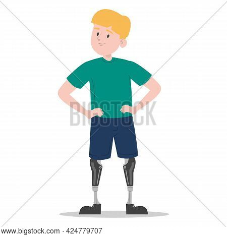 Happy Young Boy With The Prosthetic Legs