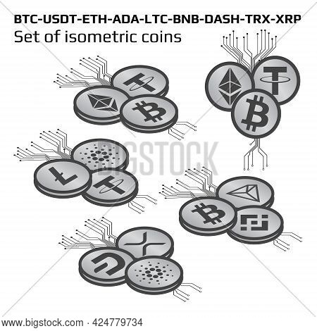 Set Of Isometric Main Cryptocurrency Coins In Bw Isolated On White On Top-left View. Isometric Crypt