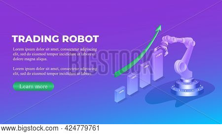 Trading Robot Isometric Concept With Chart And Upward Arrow And Copy Space. Automatic Bot Trading Ba