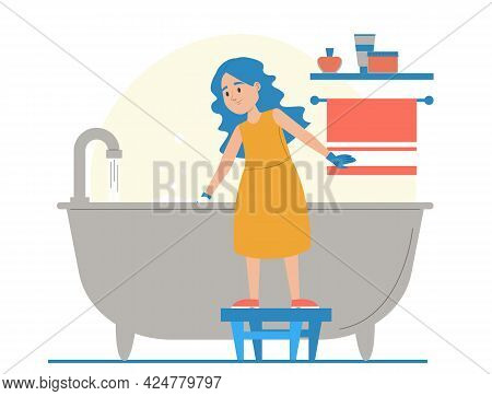 Girl Cleaning Bathtub Vector Isolated. Domestic Routine