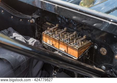 Franschhoek, South Africa - April 12, 2021: Wooden Batteries Of A Model-t Ford From 1915. Franschhoe