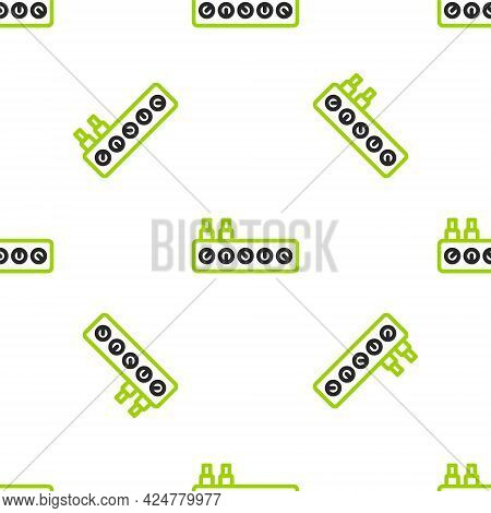 Line Sound Mixer Controller Icon Isolated Seamless Pattern On White Background. Dj Equipment Slider