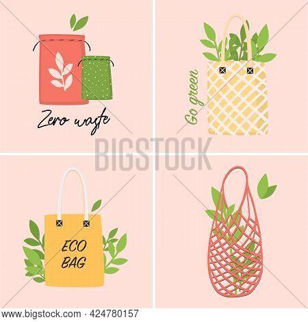 Set Of Eco-friendly Shopping Bags. Zero Waste Plastic Free Concept. Flat Colored Cartoon Vector Illu
