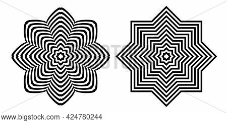 Abstract Op Art Design Elements. Striped Lines Circle Patterns. Vector Illustration.