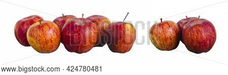 Group Orange Red Striped Apples Close Up Isolated On White. Selective Focus, Design Element Of Groce