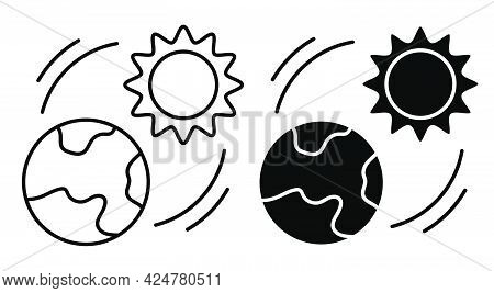 Sun Shines On Planet Earth Linear Icon. Changing Seasons On Planet. Global Warming. Increase In Ambi