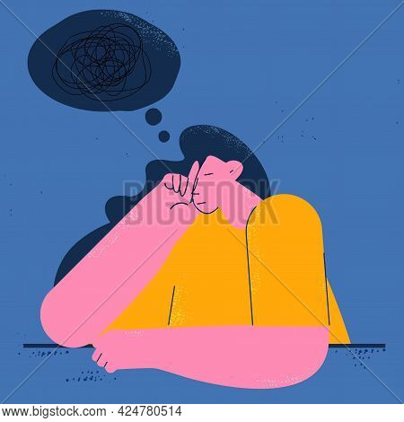 Depression, Anxiety Problems, Stress, Dementia Concept Flat Vector Illustration. Sad, Unhappy And Ti