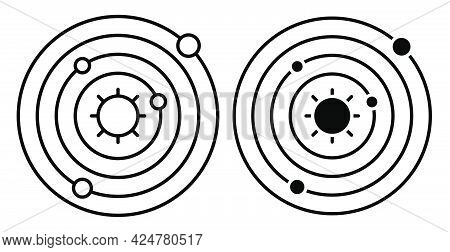 Linear Icon. Abstract Model Of Solar System. Planets Revolve In Orbits In Space Around Star, Sun. Si