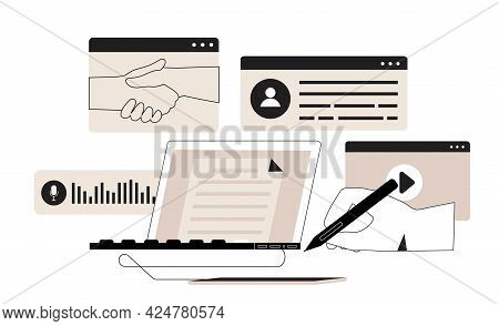 Businessman Freelancer Work On Laptop Or Sign Develope Or Prepare Electronic Contract, Make Deal Onl