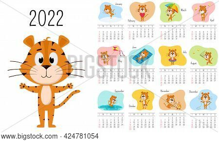 Vertical Wall Calendar Template 2022. The Week Starts On Sunday. Ready-to-print Calendar With Chines