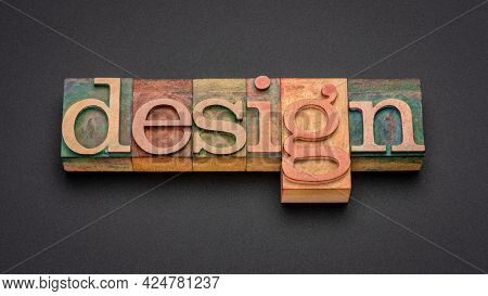 design word abstract in vintage letterpress wood type, web banner