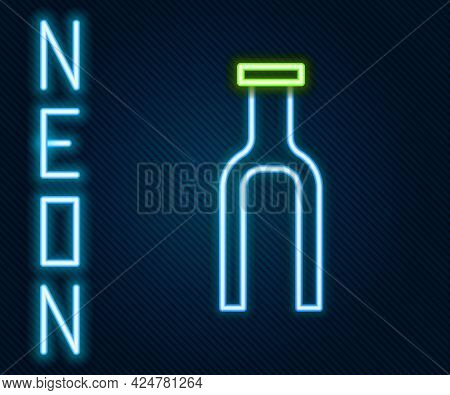 Glowing Neon Line Bicycle Suspension Fork Icon Isolated On Black Background. Sport Transportation Sp