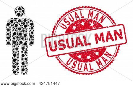 Vector Mosaic Person Of Sars Virus Items, And Usual Man Scratched Round Stamp Seal. Virus Particles