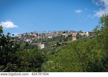 View Of Town Of Castro Del Volsci In Fronzinone, Italy From Mountain Road