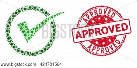 Vector Collage Yes Tick Of Flu Virus Items, And Approved Textured Round Seal Print. Virus Items Insi