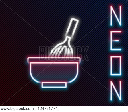 Glowing Neon Line Kitchen Whisk With Bowl Icon Isolated On Black Background. Cooking Utensil, Egg Be