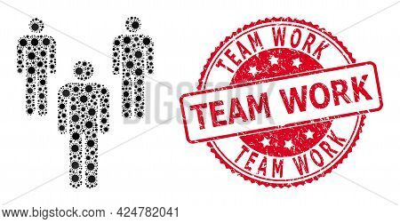 Vector Mosaic Men Of Covid Items, And Team Work Textured Round Stamp Seal. Virus Items Inside Men Mo