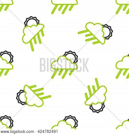 Line Cloud With Rain And Sun Icon Isolated Seamless Pattern On White Background. Rain Cloud Precipit