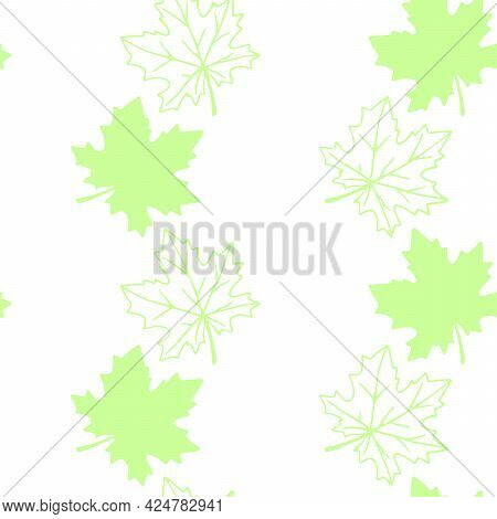 Seamless Pattern Of Stamp Green Leaves Of Maple Or Grapes Vine Isolated On White Background. Simple