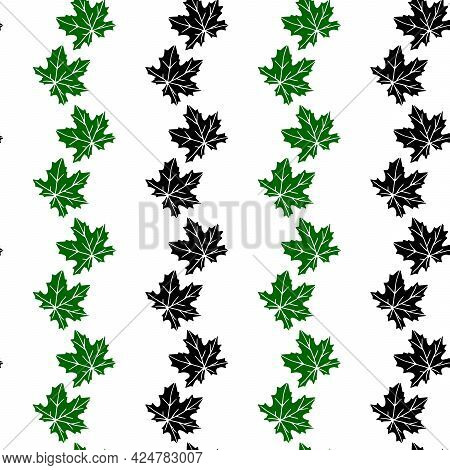 Seamless Pattern Of Stamp Green, Black Leaves Of Maple Or Grapes Vine Isolated On White Background.
