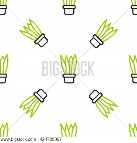 Line Plant In Pot Icon Isolated Seamless Pattern On White Background. Plant Growing In A Pot. Potted