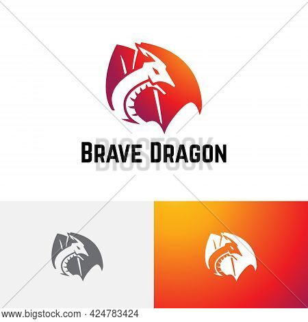 Brave Strong Dragon Wings Fly Technology Game Logo