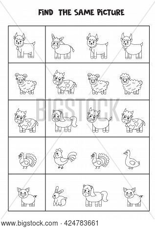 Find The Same Picture Of Black And White Farm Animals. Educational Worksheet For Kids.