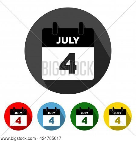 4 July Calendar Flat Style Icon With Long Shadow. July 4. Calendar Icon. Calendar Icon Vector Illust