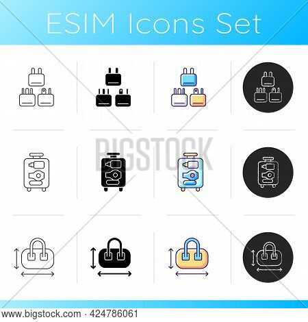 Travel Size Objects Icons Set. Tourist Adapter. Open Suitcase. Handbag Size Measurement. Airplane Pa