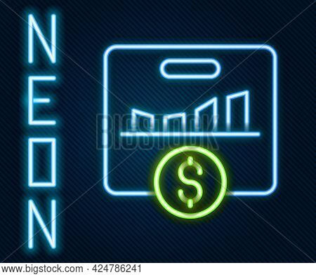 Glowing Neon Line Kpi - Key Performance Indicator Icon Isolated On Black Background. Colorful Outlin