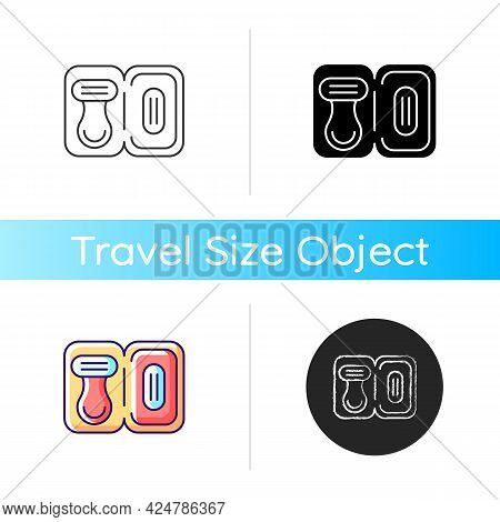 Travel Size Razor Icon. Shaving Tools For Trip. Portable Hygienic Amenities. Essential Things For To