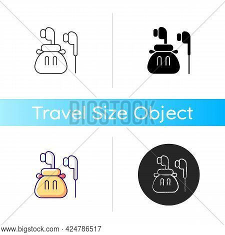 Headphones Icon. Compact Bag With Earphones For Trip Convenience. Portable Amenities. Essentials For