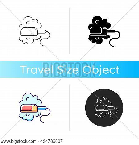 Travel Size Steam Iron Icon. Compact Housekeeping Appliance. Portable Device. Essential Things For T