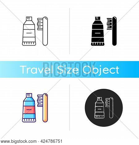 Travel Toothbrush Icon. Mini Brush And Toothpaste. Portable Hygiene Amenities. Essential Things For
