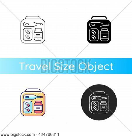 Mini First Aid Kit Icon. Emergency Bag With Medication For Trip. Essential Things For Tourist. Trave