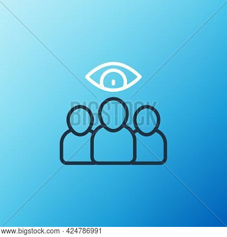 Line Spy, Agent Icon Isolated On Blue Background. Spying On People. Colorful Outline Concept. Vector